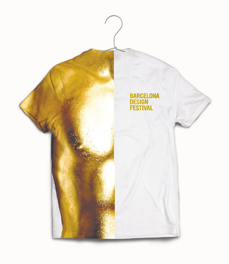 Front T-shirt with a gold body man – BCN Design Festival.