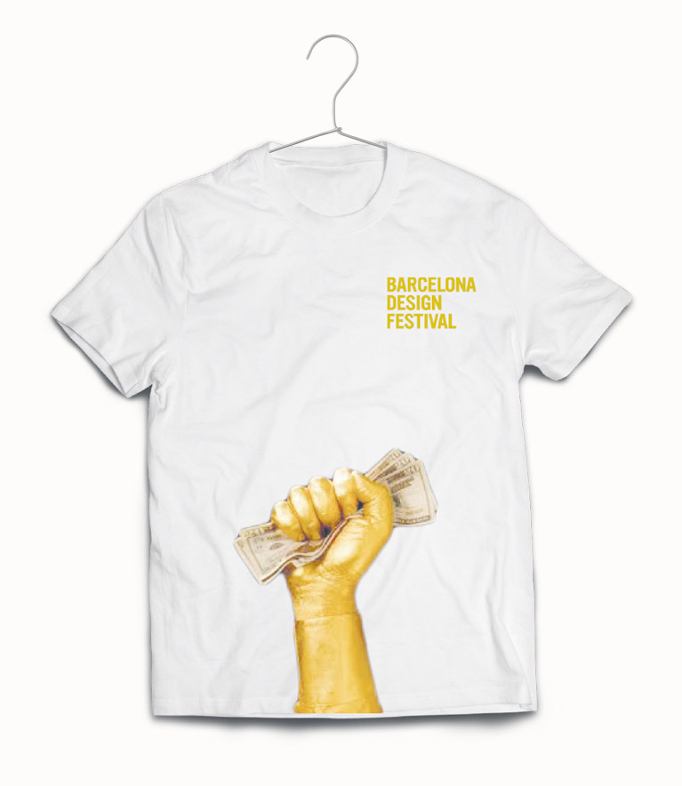 Front T-shirt for the staff personal with the picture of a hand holding money – BCN Design Festival.
