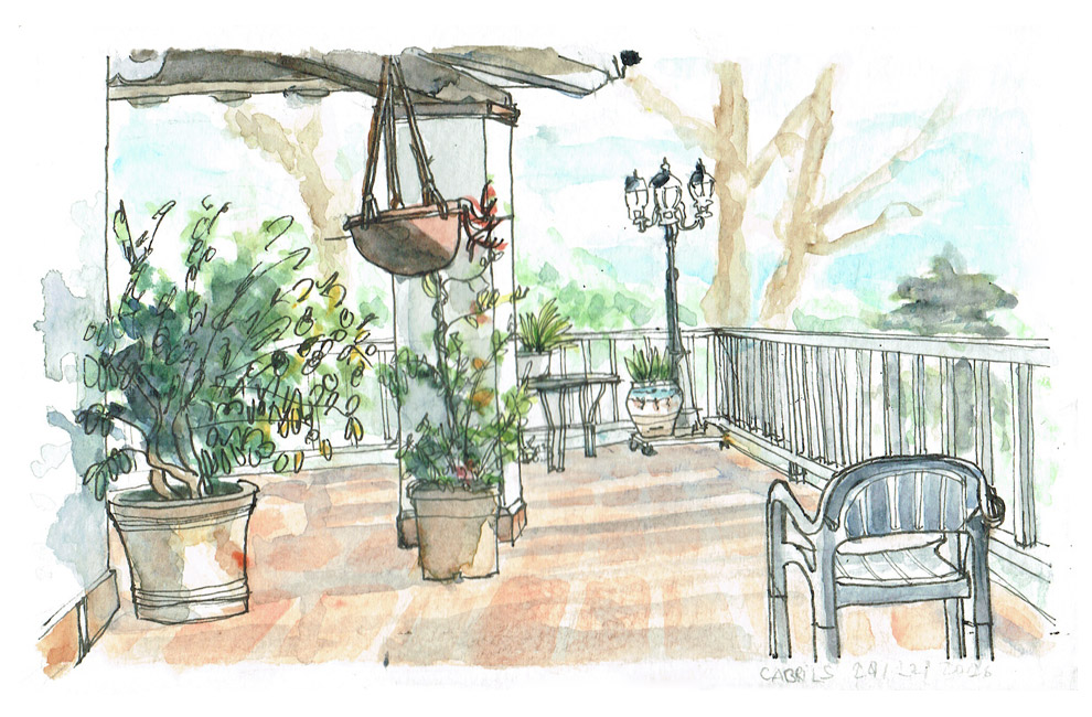 Garden house sketch – Cabrils – in rotring and watercolors.