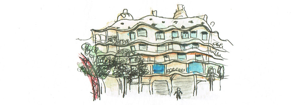 La Pedrera – Barcelona – microsketch in rotring and pencils.