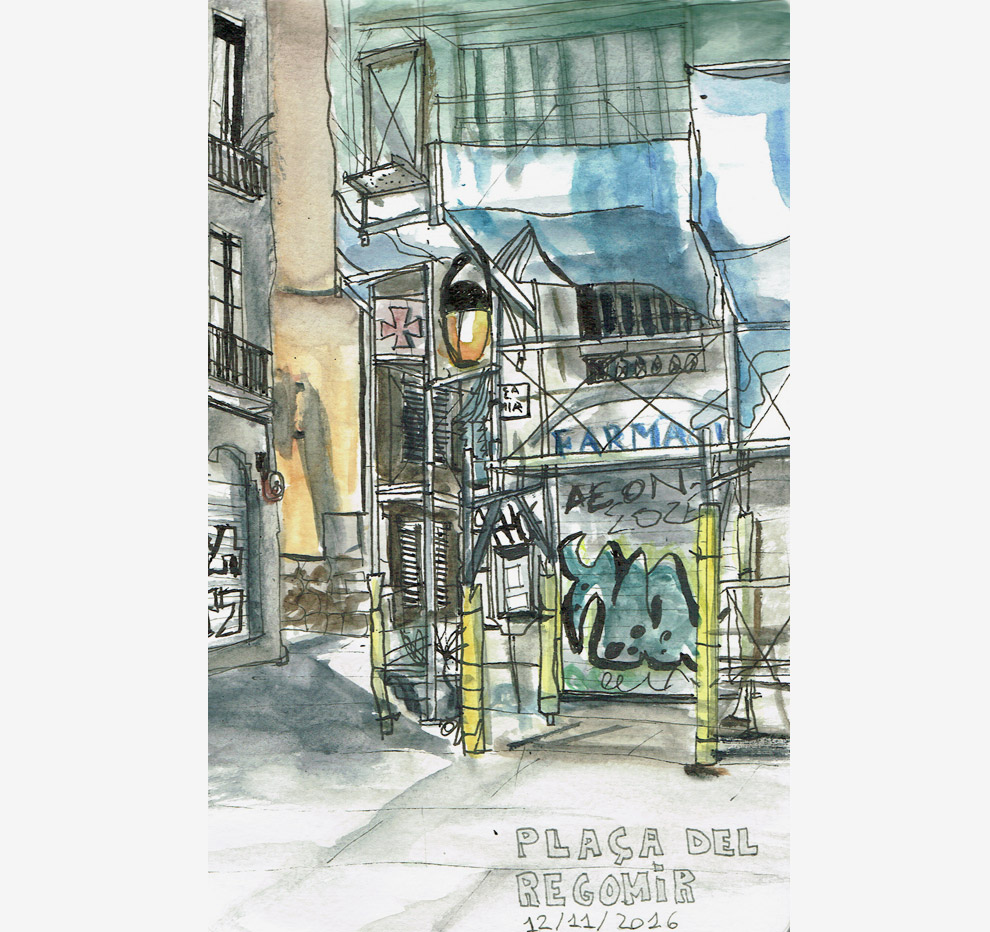 Plaça del Regomir – Barcelona – In rotring and watercolors.